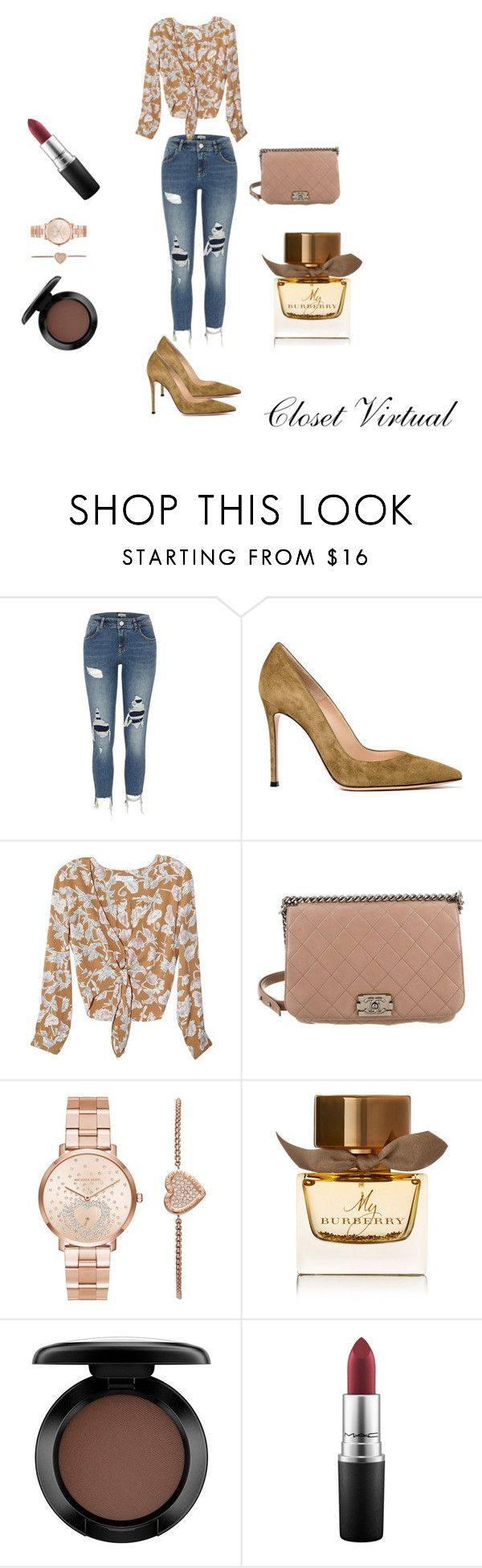 Casual chic by ednamarizete on Polyvore featuring Flynn Skye, River Island, Gianvito Rossi, Chanel, Michael Kors, MAC Cosmetics and Burberry