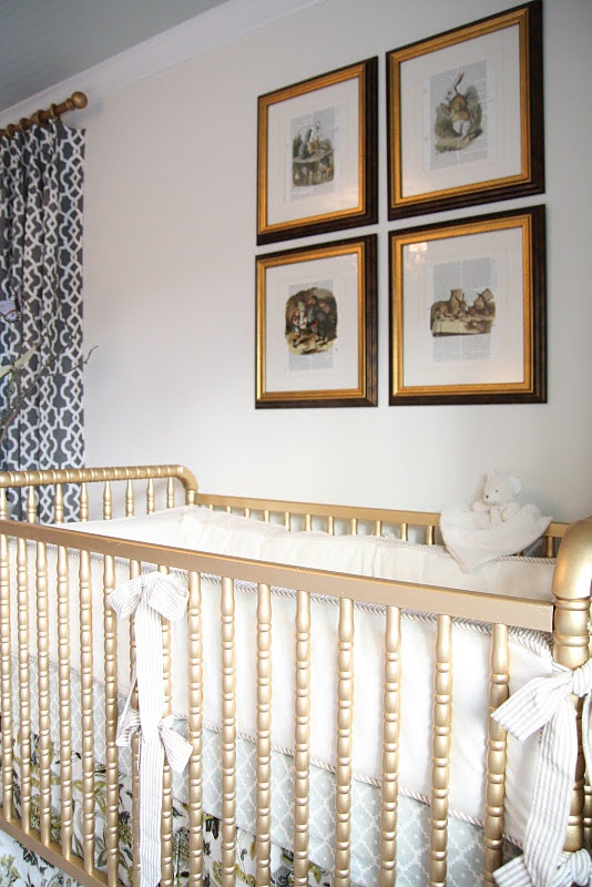 so not ready for a baby... but i love this gold crib and vintage alice in wonderland prints!