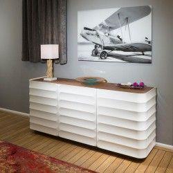 Luxury Large Modern Sideboard/Cabinet Gloss Walnut/White RV104 Stock