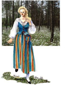 Finnish Woman in the Woods, by Sharon Aamond, I think it's Munsala costume