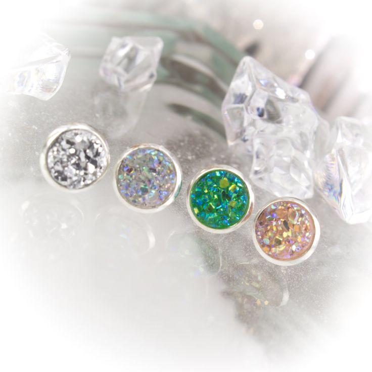 Christmas Faux Druzy 8mm post earrings set in silver bezels  219972EC by LaraBellaJewelry on Etsy