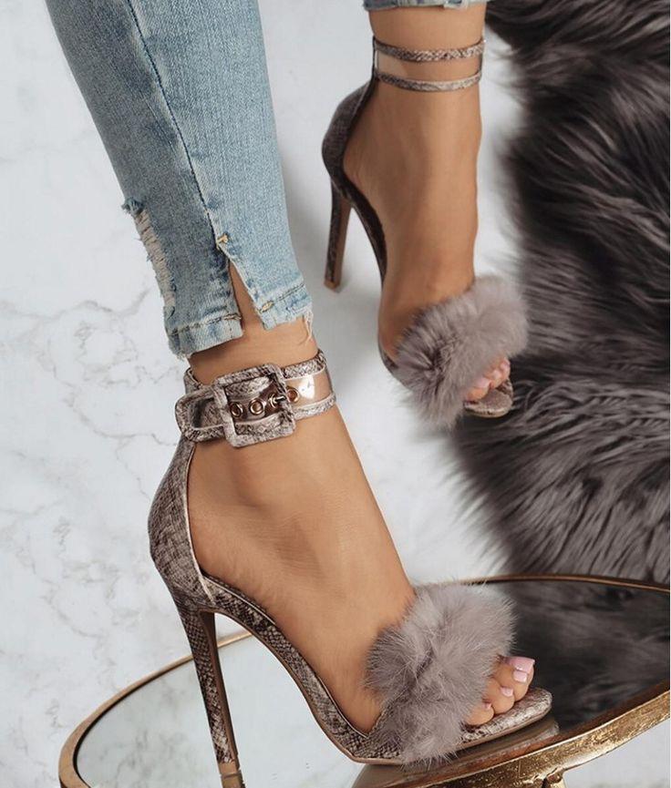 $36.29 ~ Women Sandals heels 2017 fashion Summer pumps Sexy Sandals summer high heels straps comfort quality rabbit Fur women #sandals #heels #womensfashion #pumps #womensshoes #fashion