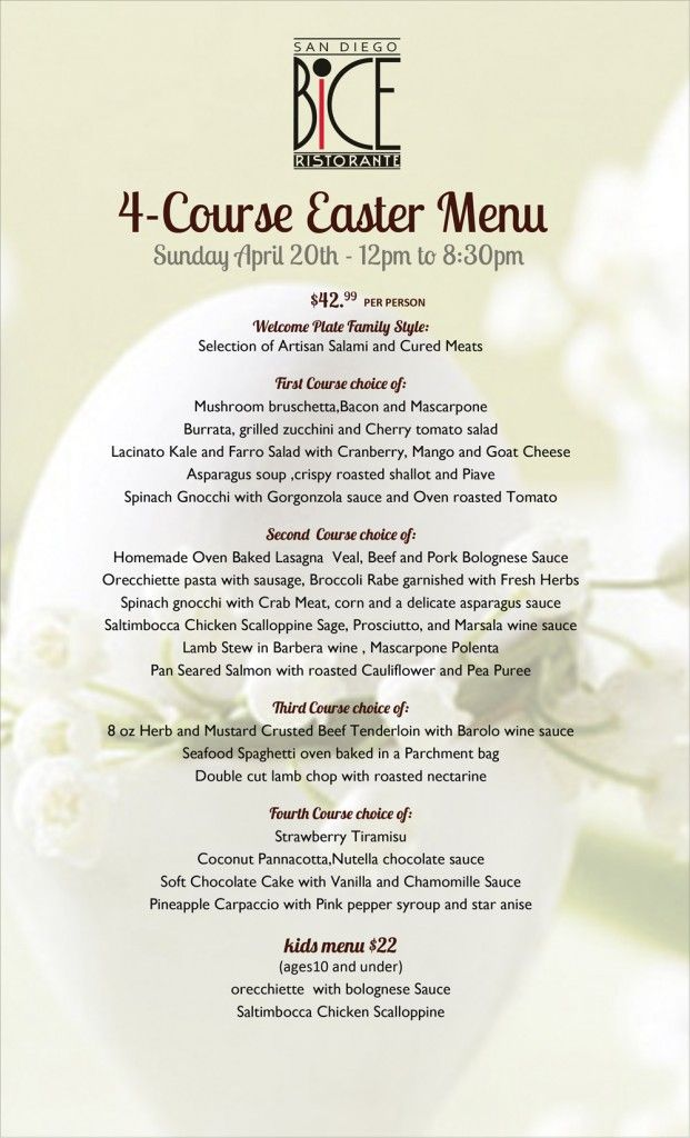Treat your family to a modern italian easter brunch at for Easter brunch restaurant menus