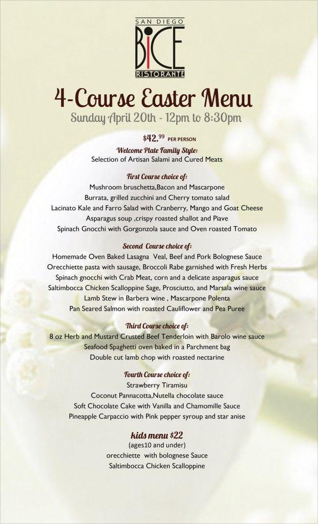 Treat your family to a modern italian easter brunch at for Easter brunch restaurant menus