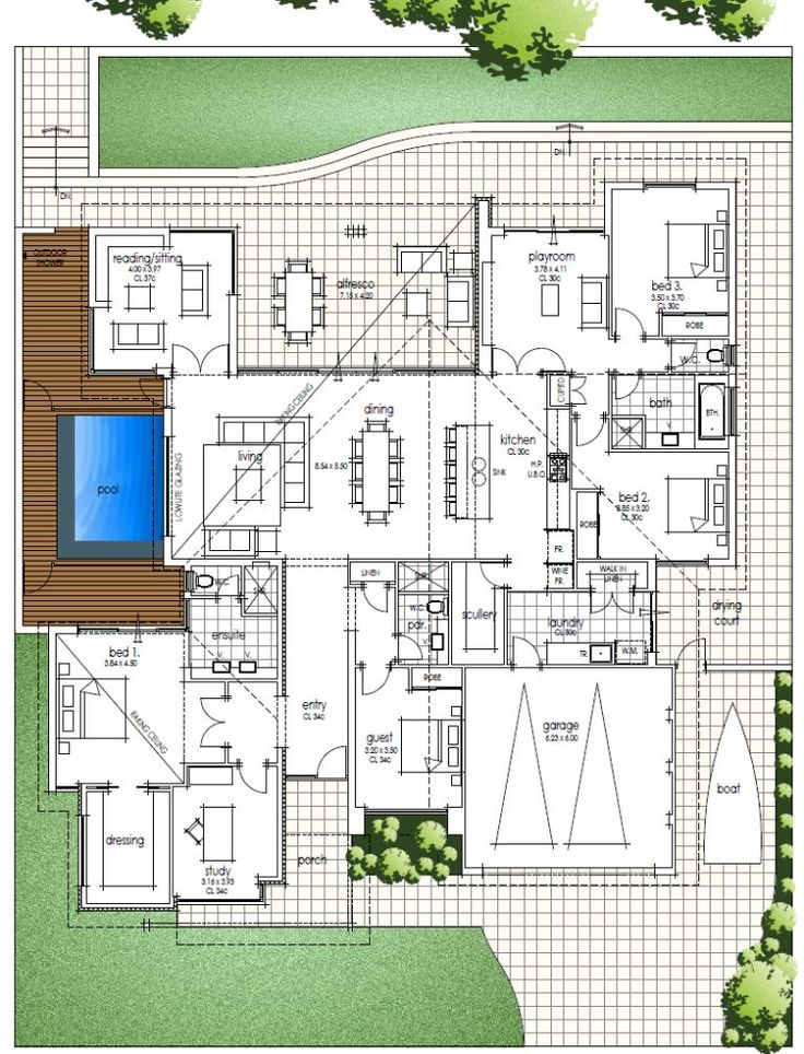 Big Family Home Floor Plan With Amazing High Ceilings