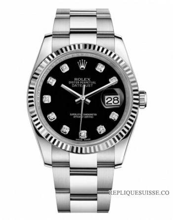 7bb7dc997b8 Réplique Montres Rolex Datejust 36mm acier cadran noir bracelet Oyster  116234 BKDO à vendre