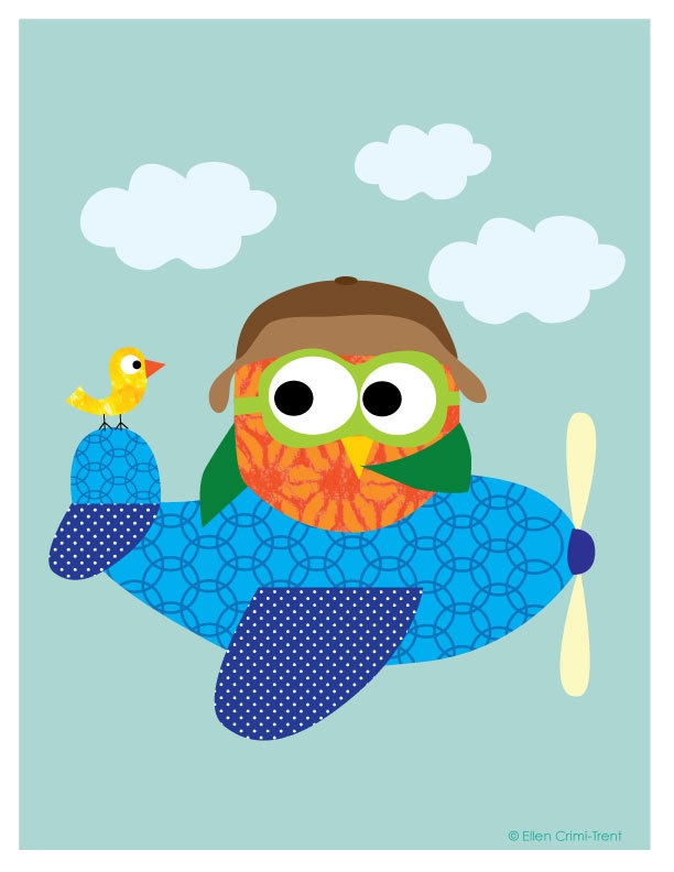 Art print- kids wall art- owl in a plane. $18.00, via Etsy.