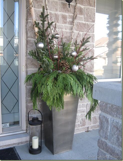 Potted greenery arrangement for outside