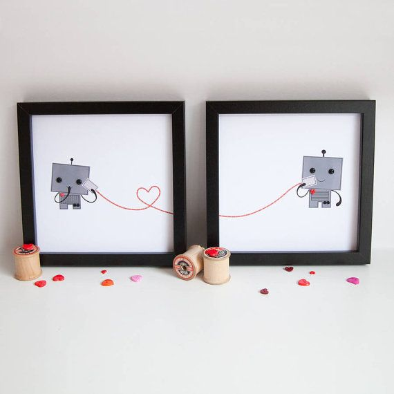 Robot Love Prints - Personalised Robot Prints - Anniversary Gift for Robot Lovers - Cute Robot Pictures