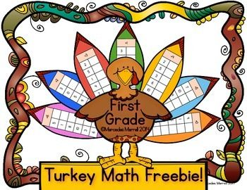 This Turkey Math FREEBIE is a great center or whole class activity to get the students in the holiday mood!  After completing the addition and subtraction problems on the feathers, the students will cut and paste them, along with the colored turkey body, on construction paper for a perfect Thanksgiving craftivity!