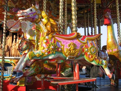 Brighton East Pier fairground carousel painted horse, Sussex, UK