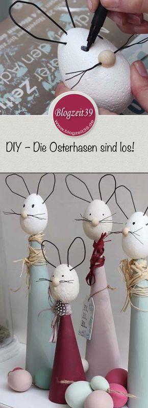 Ich zeige Euch, wie man diese tollen Osterhasen basteln kann. Mein DIY zu Ostern   Die Osterhasen sind los! #diy #ostern #basteln #hasen #osterhasen