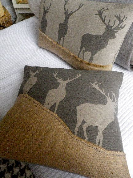 hand printed charcoal triple stag cushion cover by helkatdesign