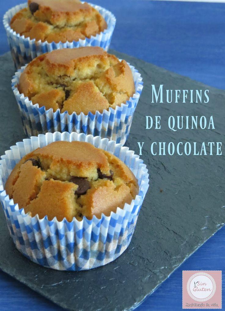 Sin gluten. Disfrutando la vida: Muffins de quinoa, sarraceno y arroz con pepitas chocolate (usar tagatosa y choco frusano)