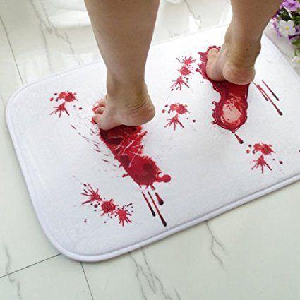 Bloody Shower Mat, Petforu Bloody Footprint Polyester Door Floor Mats Kitchen Rugs Mats Carpet