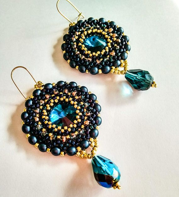 Blue and gold earrings with crystal rivoli Beadworkhandbeaded
