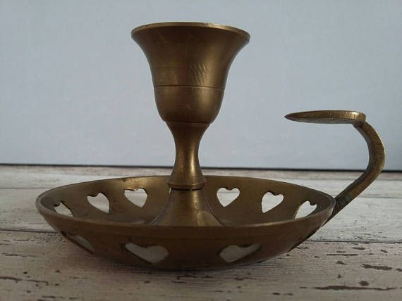 Brass Heart Candlestick Holder // Bohemian Decor // Vintage