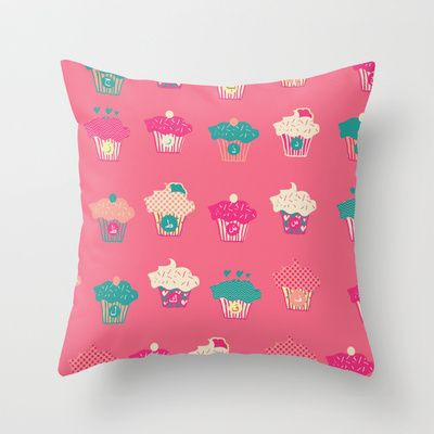 Cupcake Arabic Letters Throw Pillow by purenoor  #arabic #calligraphy #typography #cupecakes #pink #pillow #letters #patterndesign
