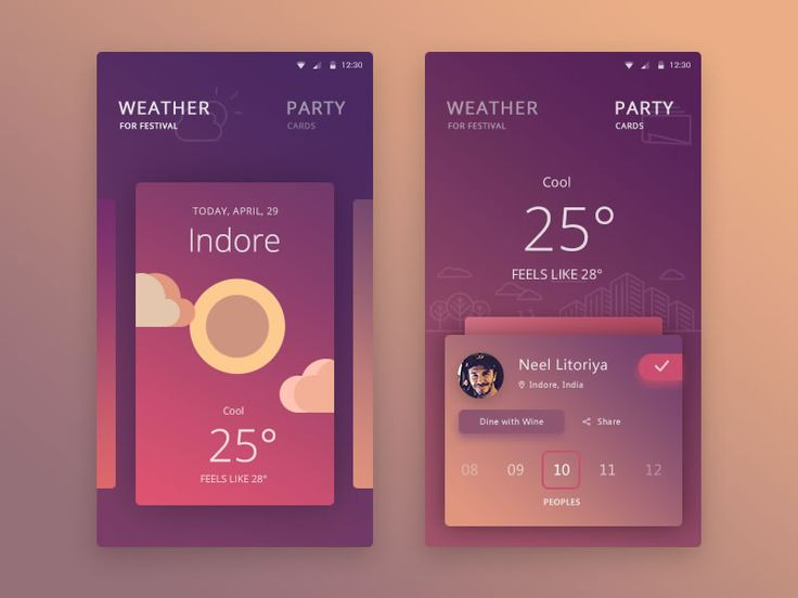 Shot of the beautiful mobile UI of a personal festival app concept by Prakhar Neel Sharma.