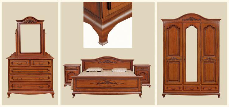 Mobila / Mobilier Dormitor clasic lemn Anca nuc/stejar sau alb/crem | RON0.00 | #mobilena.ro