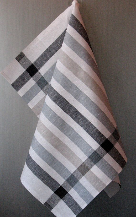 Linen Cotton Dish Towels striped Black White Gray  by Initasworks, $15.90
