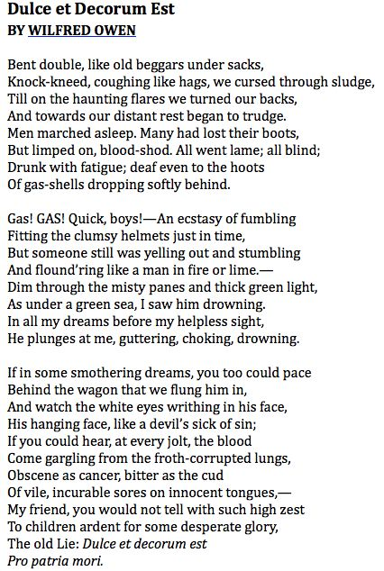 """Wilfred Owen, """"Dulce et Decorum Est"""""""