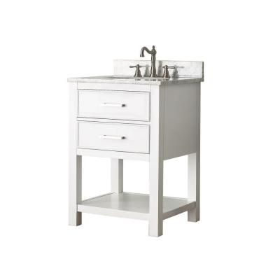 Pics Of Shop Avanity Brooks White Undermount Single Sink Poplar Bathroom Vanity with Natural Marble Top Common x Actual