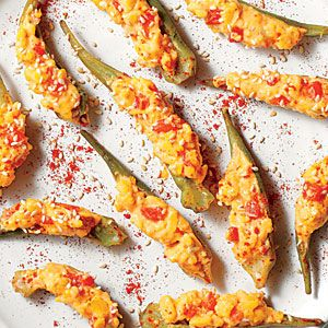 37 Summer Farmer's Market Recipes | Pimiento Cheese-Stuffed Pickled Okra | SouthernLiving.com