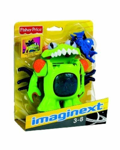 Fisher-Price Imaginext Deluxe Space Figures - Green Alien by Fisher-Price. $24.49. Green alien's mouth opens. You can see what(or who) it swallowed!. Green alien figure is ~5 inches tall. Small alien can be attached to the large alien, over the eyeball. Ages 3-8. Green alien has movable arms. Imagine ... ... an alien from outer space getting ready to swallow you! Its mouth opens, and you can put a smaller alien (included) inside. All part of the adventure of the Imag...