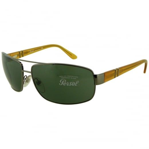 Persol Men's Gunmetal Stylized Aviator Sunglasses With Crystal Green Lenses. Model Number: 2302-S 513 31. Drawing on a strong Italian heritage in craftsmanship, Persol sunglasses merge past and present in a timeless style.