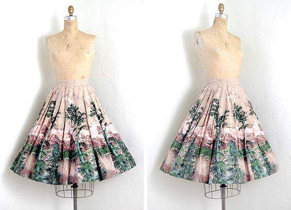 vintage 1950s skirt / novelty forest printed full circle swing skirt $128