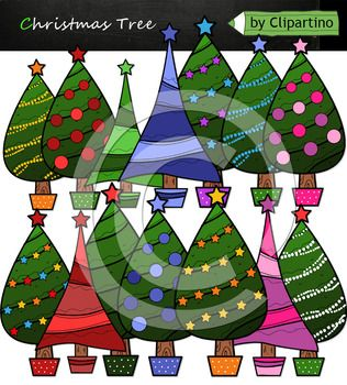 Christmas Tree Clipart includes 19 files PNG transparent background 15 color files+4 black white Size one file about 6 inch 300 dpi Original authoring technique, boldly use for commercial purposes. Create your own products and sell them. For personal and commercial use.