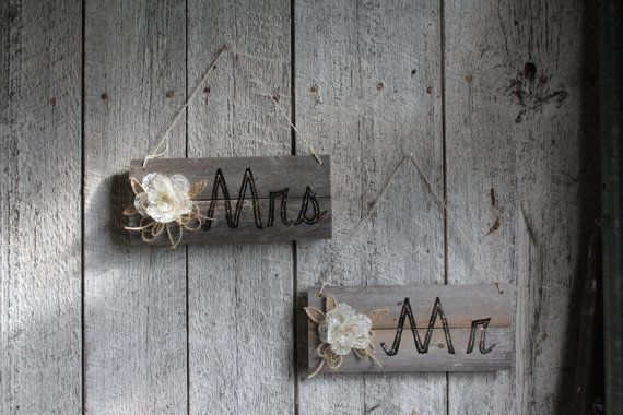 Rustic Mr and Mrs/Wedding signs for chairs/Mr by lechoixdelamariee