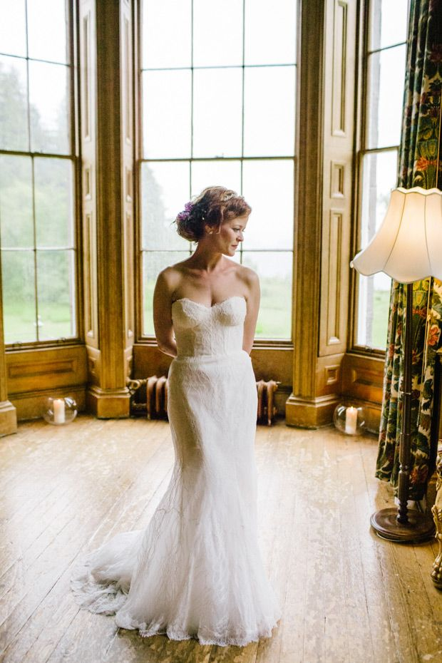 Monique L'Huillier wedding dress | Cat and Jab's whimsical Scottish wedding by Emma Case | www.onefabday.com