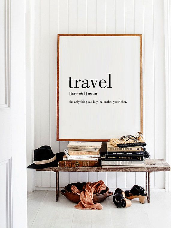 Entrance styling with giant art print travel