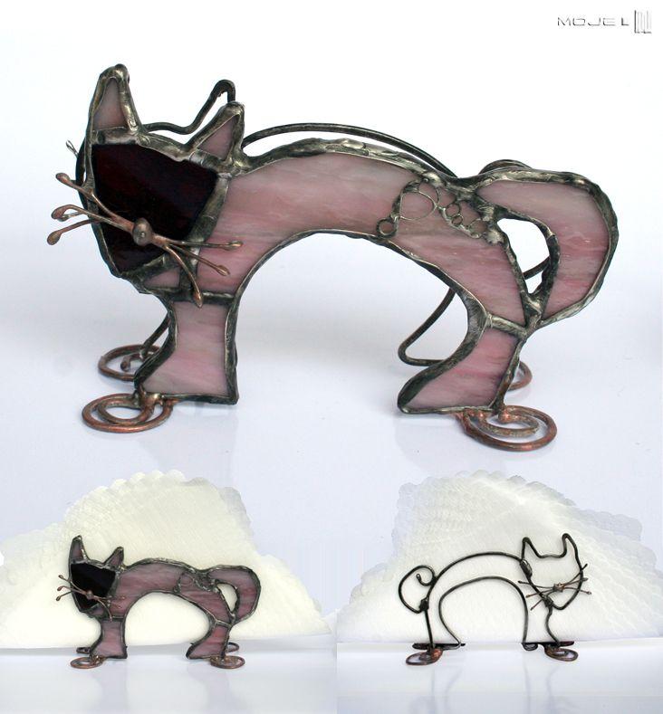 Koci serwetnik /  Cat napkins. Witraż Tiffany. Moje MW