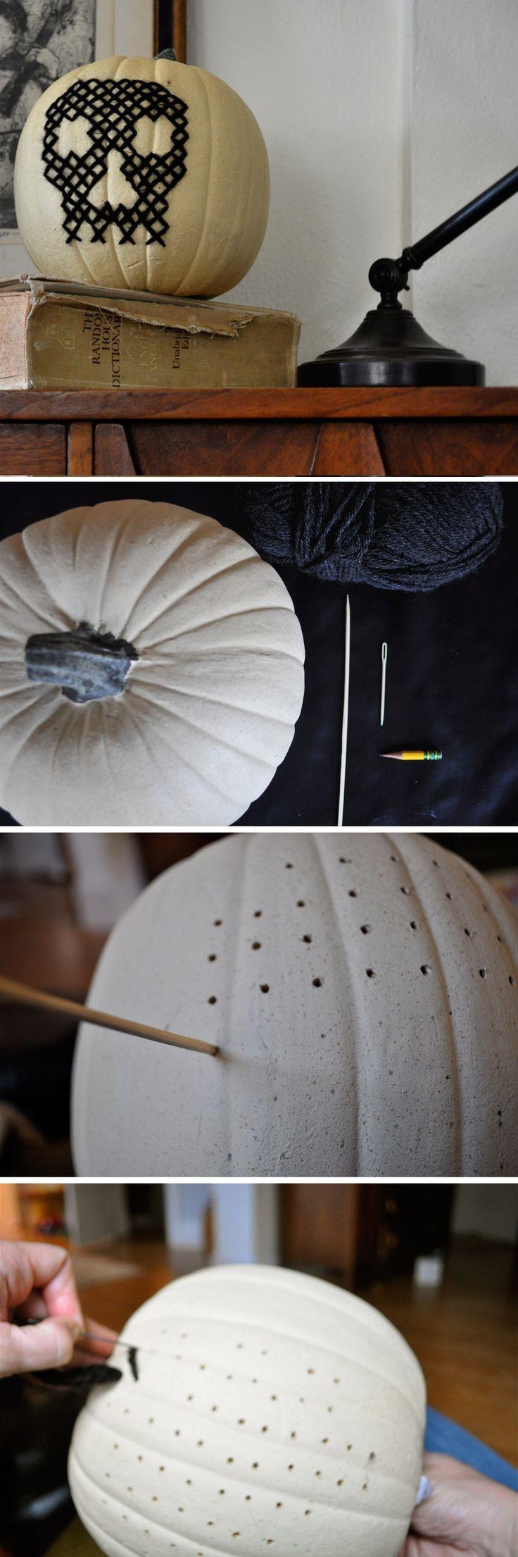 DIY: Cross stitch skull on plastic pumpkin - halloween decoration