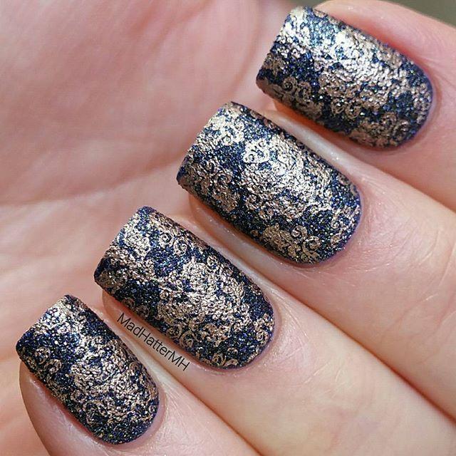 Stamping nail art using textured nail polish - OPI: Alcatraz...Rocks Liquid Sand  #texturenailluminati #texturethursday plus some stamping using Emily de Molly: Rose Gold stamping polish and Pet'la Romance plate