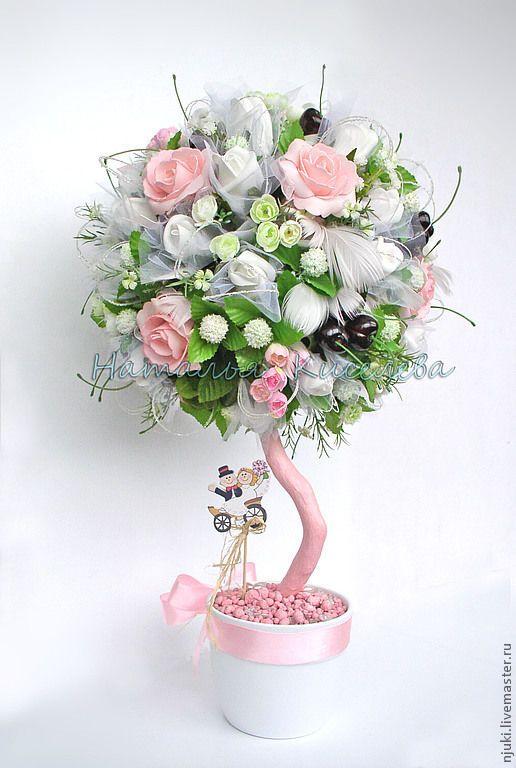 Купить Дерево счастья Жених и Невеста (топиарий) - подарок на свадьбу, Дерево счастья, топиарий