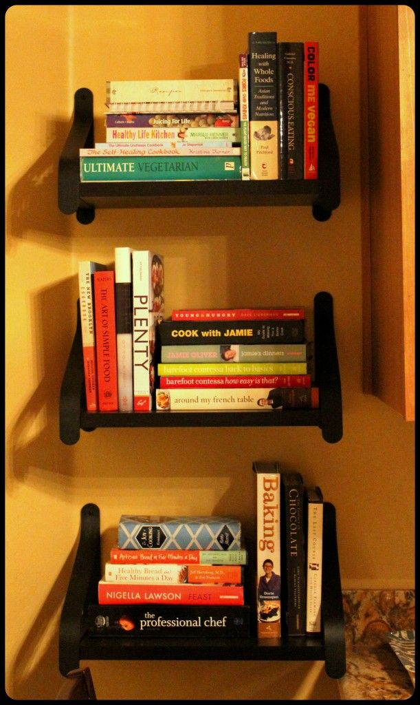 DIY shelves from IKEA - perfect for cookbooks in the corner of our kitchen/ breakfast nook area