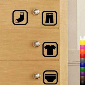 Simplifying chores for autism - vinyl stickers for putting clothes away, such a good idea