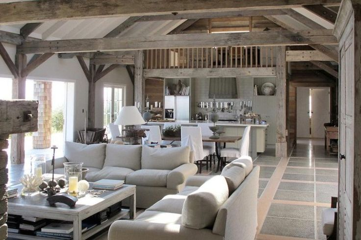 Barn House Living Rooms...Tall Ceilings, Reclaimed Wooden Walls, Iron Chandeliers...barnhouse style is a COCOCOZY favorite!