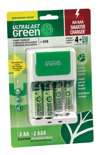 Ultralast ULGFAMILY Green Charger with 2 AA and 2 AAA Precharged Batteries by Ultralast. $14.88. Charge AAA and AA batteries at the same time.. Save 25%!