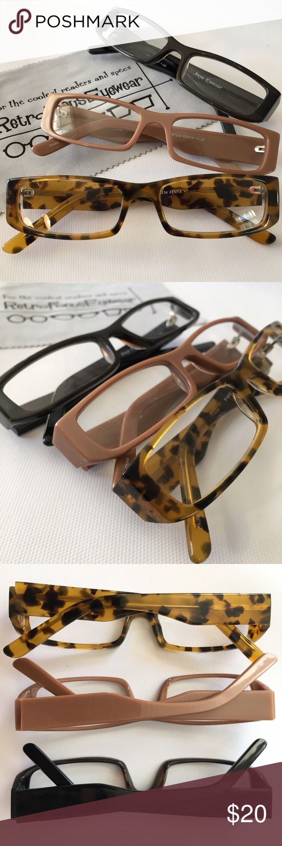 "NEW Reading Glasses Unisex Tortoise Tan Black 🌸20% off 2 or more bundles!🌸These suit a petite small adult face. Better quality Acetate department store readers. Choose color and Strength below in selector.  Frame is 5"" across, stems are 5 1/4"" long, frame is under 1"" tall. Prescription friendly frames too💋NO OFFERS💋For less than 3 pairs, I'll make a custom listing for you. 2 pairs is $15,  1 pair is $10.  These are not drug store quality and will last.  At this price you can have a pair…"