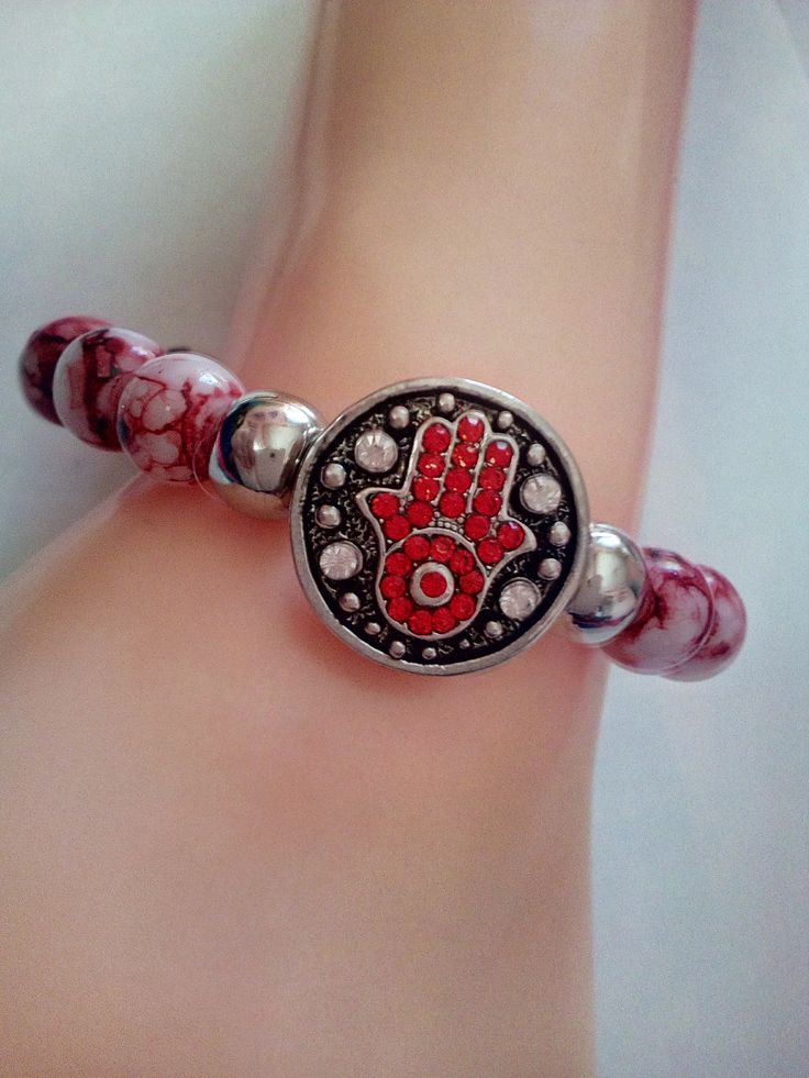Natural Gemstone Rhodochrosite Stone of Love Healing Soothing Beads with 18 20 mm Snap Button Socket Stretchable Bracelet