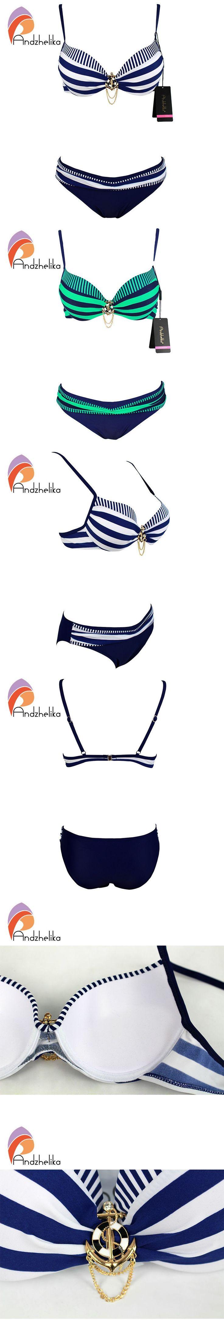 Andzhelika Bikini 2016 New Push Up Swimwear Retro Navy BLue Black White Striped Anchors Bathing Suit Bikini Set Monokinis AK1648 $21.78