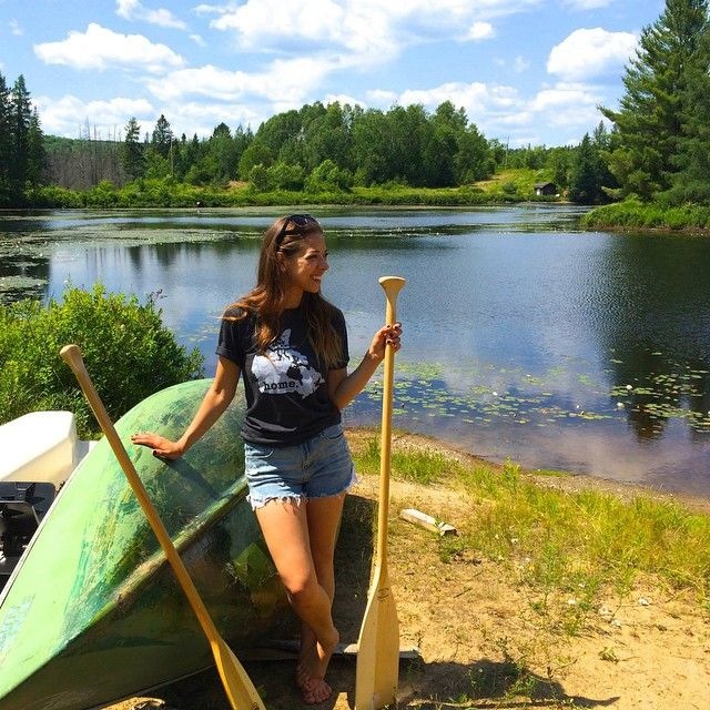 Alanna is going full-out Canuck here, in our HomeT - all she missing is a little plaid. And maybe a beer. #iloveorangefish #canada #canadianpride #home #canoe #cottage #muskoka #lake #ontario