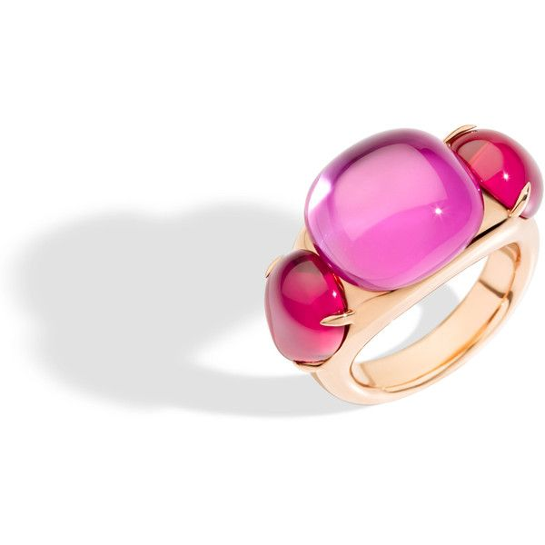 Pomellato Ring Rouge Passion (7 835 PLN) ❤ liked on Polyvore featuring jewelry, rings, pink, cabochon ring, pomellato, imitation jewelry, imitation jewellery and pink jewelry