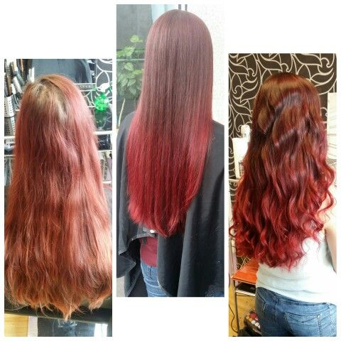 brown/red soft ombre on loooong hair;-D