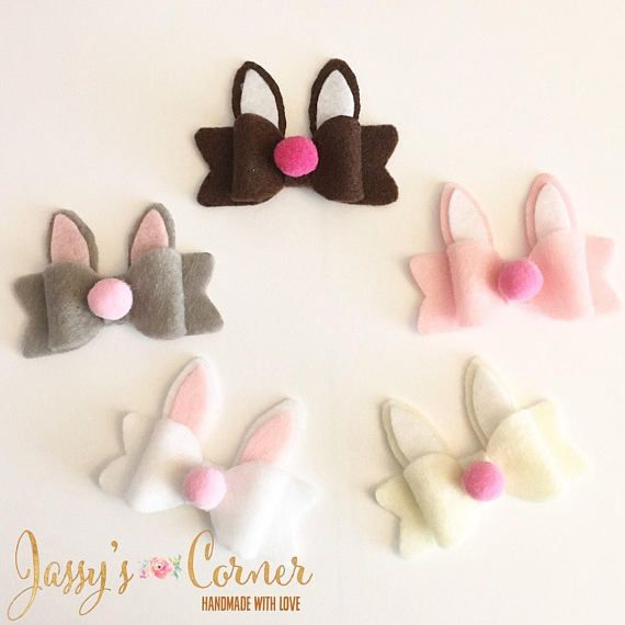This is for ONE Mini Casey Bunny Felt Bow  Approximately 2.5 wide. Comes attached to your choice of partially lined double prong non slip clip, 5/8 adjustable FOE or nylon headband that fits newborn to adult. ✂ Handmade with felt fabric that has been cut to shape. Pink pompom is